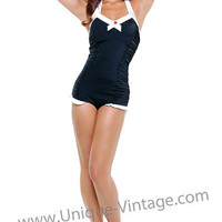 Black & White Classic Retro Swimsuit With Red Button - Unique Vintage - Bridesmaid & Wedding Dresses