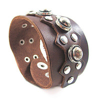 Punk Rock Style Couple Bracelet Women Brown Leather Bangle Men Leather Bracelet SL0331-BR