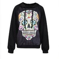 IYZF Women's Punk And Rock 3d Printing Funny Skull Hooded Sweatshirts