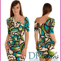 True-11089-Blue-Lime Vivid Mosaic One Shoulder Club Dress