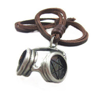 soft leather necklace,headset pendant men leather long necklace, women leather necklace   PL0229