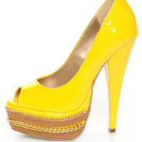 Shoe Republic LA Leisure Yellow Patent Chained Platform Pumps - $42.00