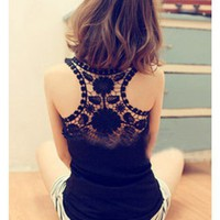Black Lace Hollow Back Cottoe Vest Sexy Women Top@XYZ9653b