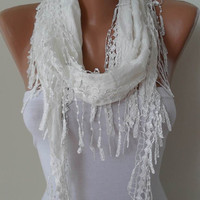 Creamy White Shawl and Scarf with White Trim Edge - Summer Collection