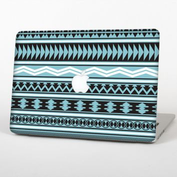 """The Vector Blue & Black Aztec Pattern V2 Skin Set for the Apple MacBook Pro 13"""" with Retina Display"""