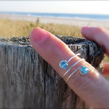 Upper Finger Ring Knuckle Ring Tropical Blue Beads