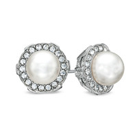 AVA Nadri Simulated Pearl and Crystal Earrings in White Rhodium Plated Brass
