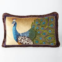 Jay Strongwater Peacock Pillow, 26 x 16