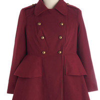 ModCloth Military Long Sleeve Double Breasted Tiering Up My Heart Coat in Plus