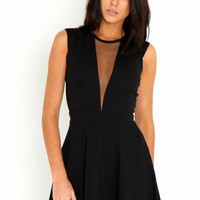 Missguided - Sibylle Mesh Plunge Skater Dress