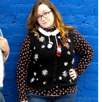 Dangly Santa and Snowmen Tacky Ugly Christmas Vest