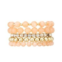 Rhinestone and Bead Stretch Bracelets - 5 Pack - Lt Pink