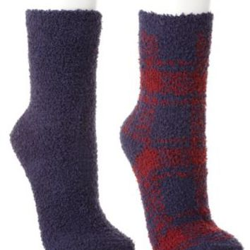 Plaid & Solid Fuzzy Socks - 2 Pack by Charlotte Russe - Red Combo
