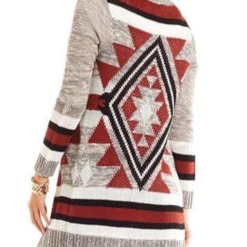 Aztec Duster Cardigan Sweater by Charlotte Russe - Gray Combo