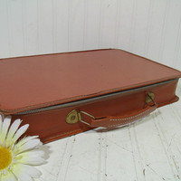 Vintage Saddle Tan Color CardBoard & Vinyl Suit Case - Mid Century Petite Brief Case - BoHo Carry On Shabby Chic Tool Size Traveling Luggage