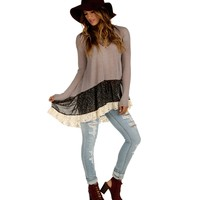 Taupe Floral 'n Lace Top