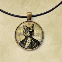 Pirate jewelry Cat pendant Animal necklace