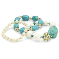 Leslie Danzis Turquoise Multi-Strand Stretch Bracelet - designer shoes, handbags, jewelry, watches, and fashion accessories | endless.com