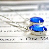 Large Sapphire Blue Swarovski Crystals, Silver Kidney Ear Wires, Bridal Jewelry, Oval, Alexandra Earrings