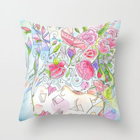 Beautiful Throw Pillow, Beauty Regime,  pastel, feminine, soft tones, floral decor, pillows, cushions, throw pillow