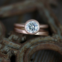 7mm Moissanite Engagement Ring, Modern Satellite Ring Design, Diamond Alternative in Recycled 14k Rose  Gold
