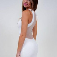 White Sleeveless Bodycon Dress with Sheer Panel Detail