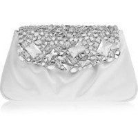Yves Saint Laurent | Swarovski crystal-embellished satin clutch | NET-A-PORTER.COM