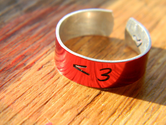 LOVE no less than 3 RED 1/4 aluminum cuff style ring
