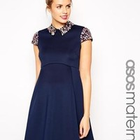 ASOS Maternity   ASOS Maternity Debutante Prom Dress with Embellished Collar and Sleeves at ASOS