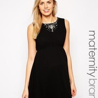 New Look Maternity   New Look Maternity Embellished Neck Dress at ASOS