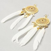 White Feather Dream Catcher Earrings