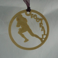 Football Player Christmas Ornament Handmade From Birch Wood
