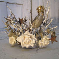 Ethereal ornate statue crown handmade woodland cottage twigs and glitter French Nordic inspired home decor anita spero
