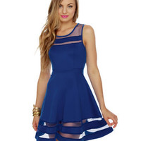 Unique Royal Blue Dress - Mesh Dress - Striped Dress - $40.00