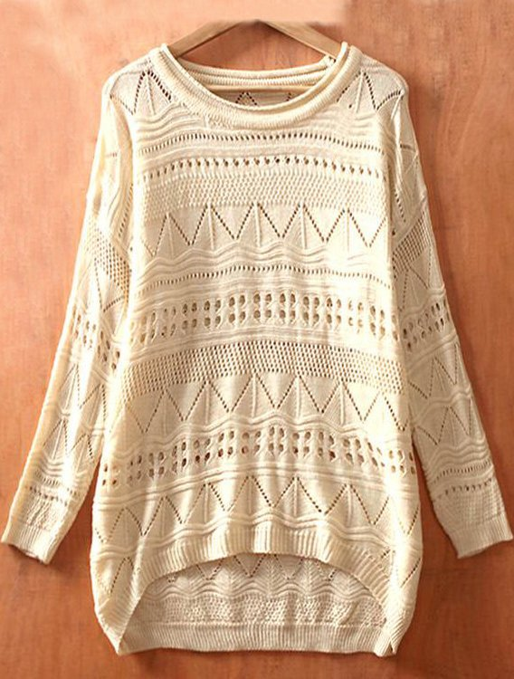 Biege Long Sleeve Geometric Eyelet Embellished Knit Jumper Sweater - Sheinside.com