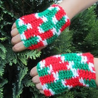 Christmas UNISEX Gloves, Crochet  Fingerless gloves in Christmas colors
