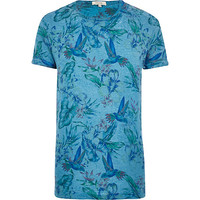 River Island MensBlue tropical bird print t-shirt