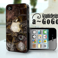 iPhone 4/4s case, Steam Punk Apple Logo design, custom cell phone case