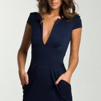 Navy Blue Ponte Dress with Deep V-Neck and Cinched Waist