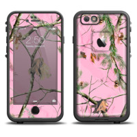 The Pink Real Camouflage Skin Set for the Apple iPhone 6 LifeProof Fre Case