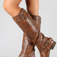 New Womens Textured Tan Buckle Riding Knee High Boots US Sz 5.5 to 11