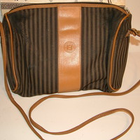 Bag- Vintage Fendi Cross Body Messenger Purse Leather Trim With Dust Cover