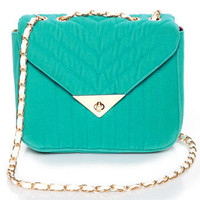 Cute Teal Handbag - Velvet Handbag - $41.00