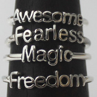 Poetry rings, 925 Sterling silver rings with Inspirational, Poetic words and Symbols