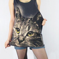 CAT KITTY Yellow Eyes Lovely Cute Animal Shirt Women Tank Top Black T-Shirt Tunic Top Vest Women Sleeveless Singlet Animal T-Shirt Size S M