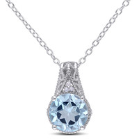 8.0mm Blue Topaz and Diamond Accent Pendant in Sterling Silver