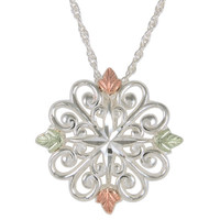 Black Hills Gold Snowflake Pendant in Sterling Silver