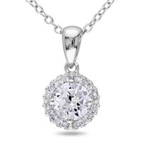 6.0mm Lab-Created White Sapphire and Diamond Accent Frame Pendant in Sterling Silver