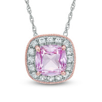 7.0mm Cushion-Cut Lab-Created Pink and White Sapphire Frame Pendant in Sterling Silver with 14K Rose Gold Plate