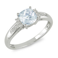 Cushion-Cut Aquamarine and Diamond Ring in 10K White Gold